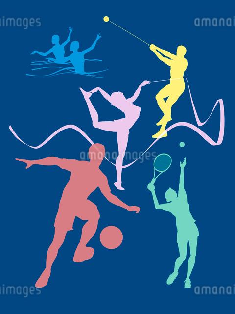 カラフルなオリンピック競技のシルエットのイラスト素材 [FYI01602098]