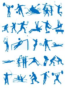 オリンピック競技のシルエットシンボル白背景のイラスト素材 [FYI01602143]