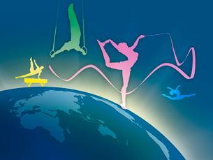 世界地図とオリンピック競技のシルエットのイラスト素材 [FYI01602175]