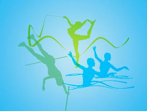 カラフルなオリンピック競技のシルエットのイラスト素材 [FYI01602187]