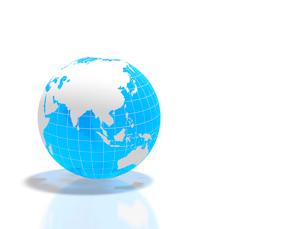 半透明な青い地球儀の写真素材 [FYI01602210]