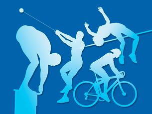 オリンピック競技のシルエット青背景のイラスト素材 [FYI01602211]