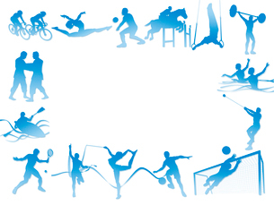 フレーム型のオリンピック競技のシルエット白背景のイラスト素材 [FYI01602221]