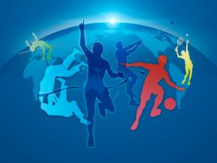 世界地図とオリンピック競技のシルエットのイラスト素材 [FYI01602294]