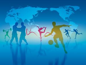 世界地図とオリンピック競技のシルエットのイラスト素材 [FYI01602613]