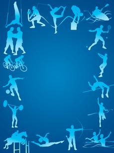 フレーム型のオリンピック競技のシルエット青背景のイラスト素材 [FYI01602620]