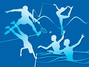 オリンピック競技のシルエット青背景のイラスト素材 [FYI01602650]