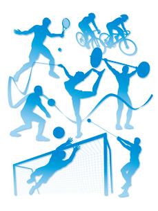 オリンピック競技のシルエット白背景のイラスト素材 [FYI01602760]