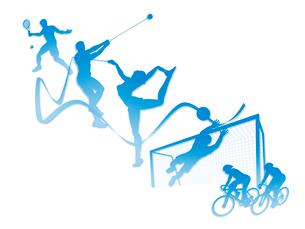 オリンピック競技のシルエット白背景のイラスト素材 [FYI01602780]