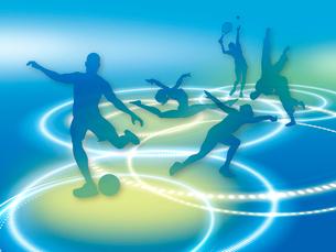光の輪とオリンピック競技のシルエットのイラスト素材 [FYI01602794]