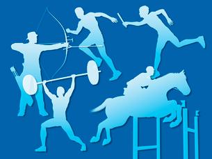 オリンピック競技のシルエット青背景のイラスト素材 [FYI01602819]