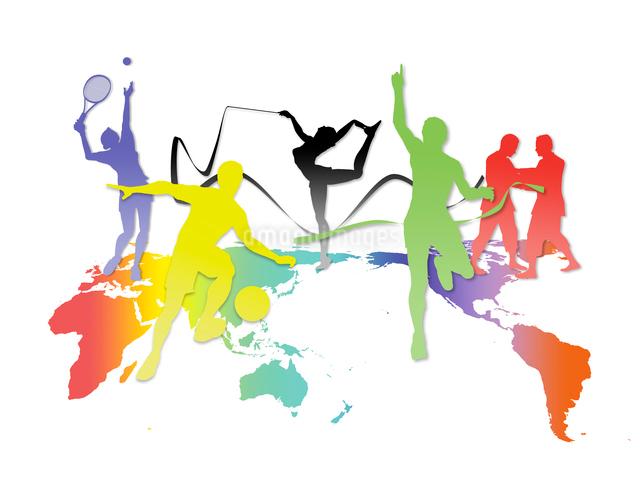 世界地図とカラフルなオリンピック競技のシルエットのイラスト素材 [FYI01602826]