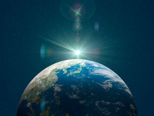 日本を中心とした地球北半球に陽が差すのイラスト素材 [FYI01602842]