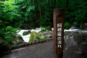 奥入瀬渓流「阿修羅の流れ」の標識の写真素材 [FYI01602879]