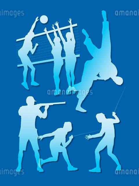 オリンピック競技のシルエット青背景のイラスト素材 [FYI01602897]