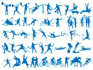 オリンピック競技のシルエットシンボル 白背景のイラスト素材 [FYI01602919]
