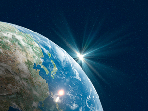 日本を中心とした地球北半球に陽が差すのイラスト素材 [FYI01602940]