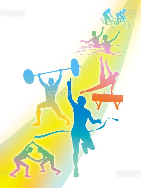 カラフルなオリンピック競技のシルエット白背景のイラスト素材 [FYI01602976]