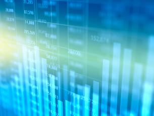 グラデーション背景の棒グラフと金融数字のイラスト素材 [FYI01603035]