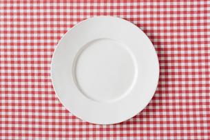 赤いチェックの布と白い皿の写真素材 [FYI01603737]