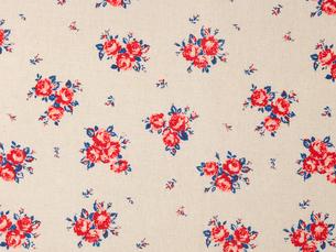 赤と青の花柄の布の写真素材 [FYI01603835]
