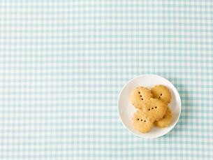 クッキーと水色のチェックの布の写真素材 [FYI01603839]