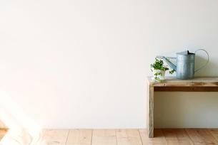 観葉植物とベンチとジョウロの写真素材 [FYI01603952]