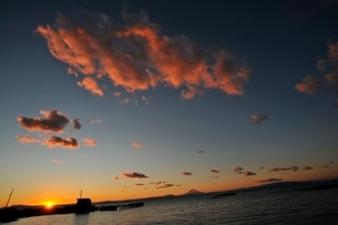 油壺荒井浜から望む伊豆半島に沈む夕陽の写真素材 [FYI01603982]