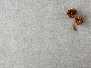 松ぼっくりとどんぐりとグレーの布の写真素材 [FYI01604030]