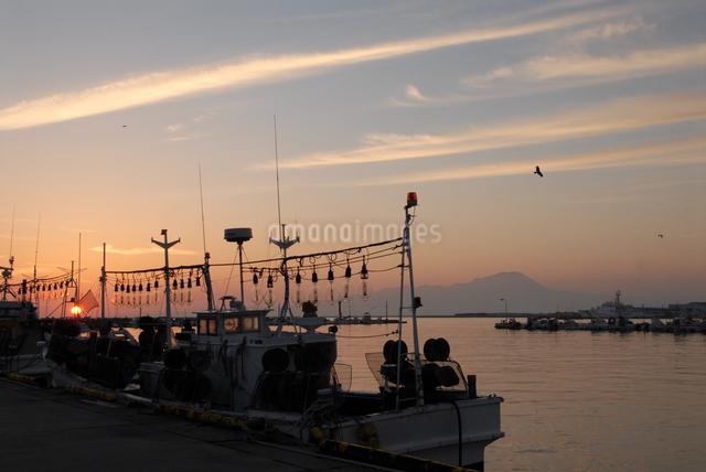 大山が見える夜明けの境港漁港の写真素材 [FYI01604066]