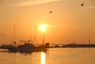 日の出と出港する漁船の写真素材 [FYI01604067]