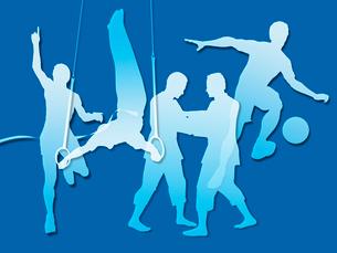 オリンピック競技のシルエット青背景のイラスト素材 [FYI01604075]