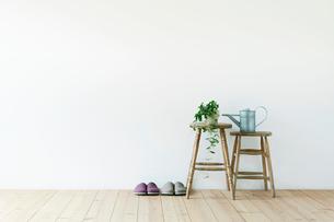 スツールと白い壁と木の床と観葉植物の写真素材 [FYI01604382]