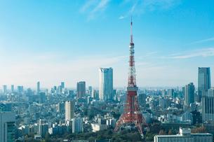 東京の眺めと東京タワーの写真素材 [FYI01604424]