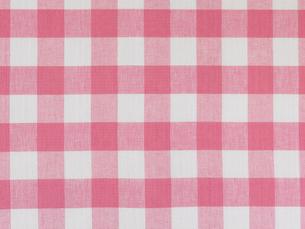 ピンクと白のチェックの布と白い皿の写真素材 [FYI01604828]