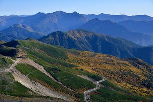 乗鞍岳から見える紅葉と穂高連峰の写真素材 [FYI01605552]