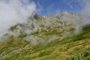 杓子平から見える笠ヶ岳の尾根の写真素材 [FYI01605556]