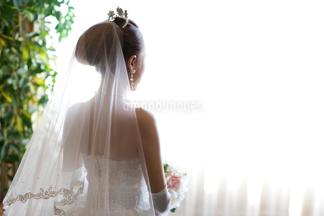 ウエディングドレスを着て結婚式へと向かう花嫁の後姿の写真素材 [FYI01605823]