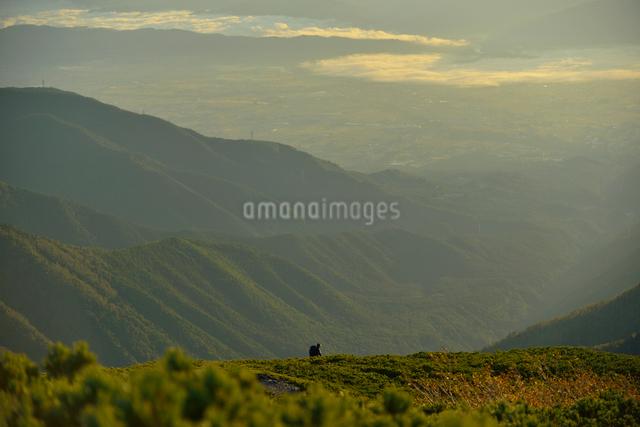 朝日に照らされる安曇野と登山者の写真素材 [FYI01606065]