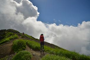 鳥海山を登る登山者の写真素材 [FYI01606200]