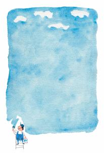 水彩イラスト 空をペイントのイラスト素材 [FYI01606503]