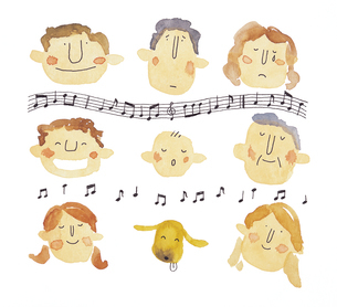 音符と人の顔のイメージのイラスト素材 [FYI01606654]
