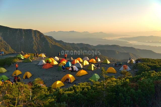 蝶ヶ岳のテント場から見る夜明けの写真素材 [FYI01606693]