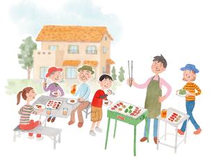 庭でバーベキューをする家族のイラスト素材 [FYI01607094]