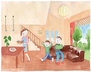 リビングでくつろぐ家族のイラスト素材 [FYI01607499]