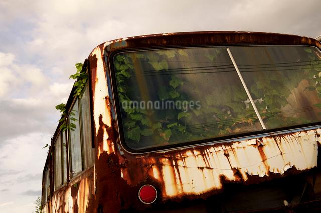 朽ち果てたバスの写真素材 [FYI01608220]