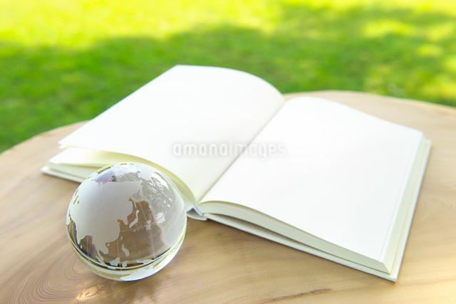 地球儀と白紙の本の写真素材 [FYI01611827]