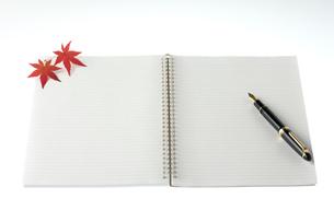 ノートに置かれた万年筆とモミジの写真素材 [FYI01612309]