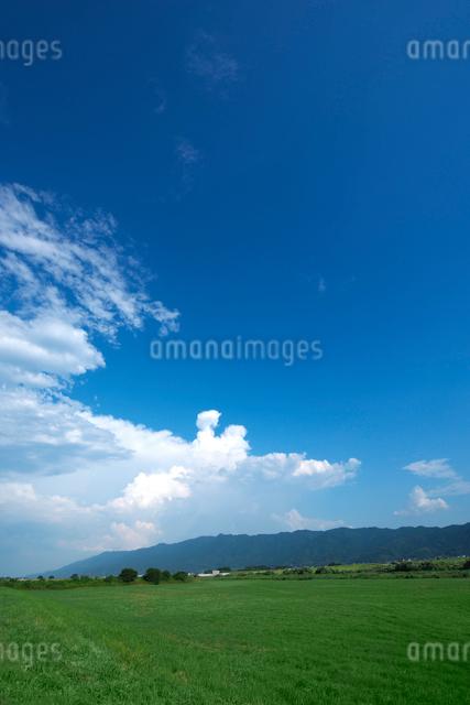 耳納連山と筑後川河川敷の写真素材 [FYI01612815]