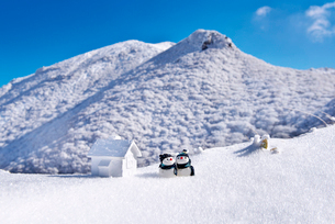 雪だるまとミニチュアハウスの写真素材 [FYI01614249]